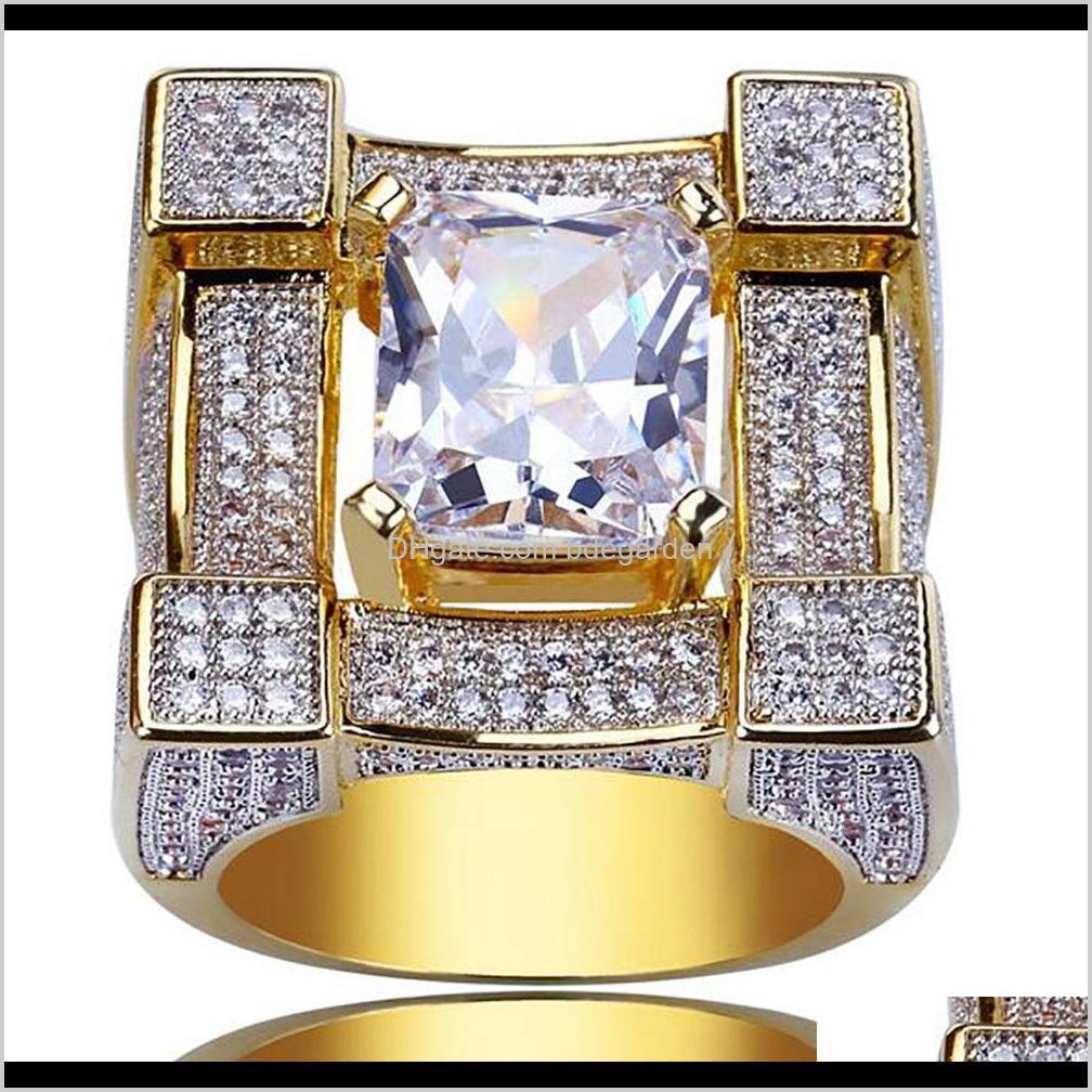 Lujo al cuadrado Diamante Solitaire Eternity Iced Out Anillos Cubic Zirconia Micro Pave Simulated Diamonds Anillo con caja de regalo 18k Gold KHWP ONRFC