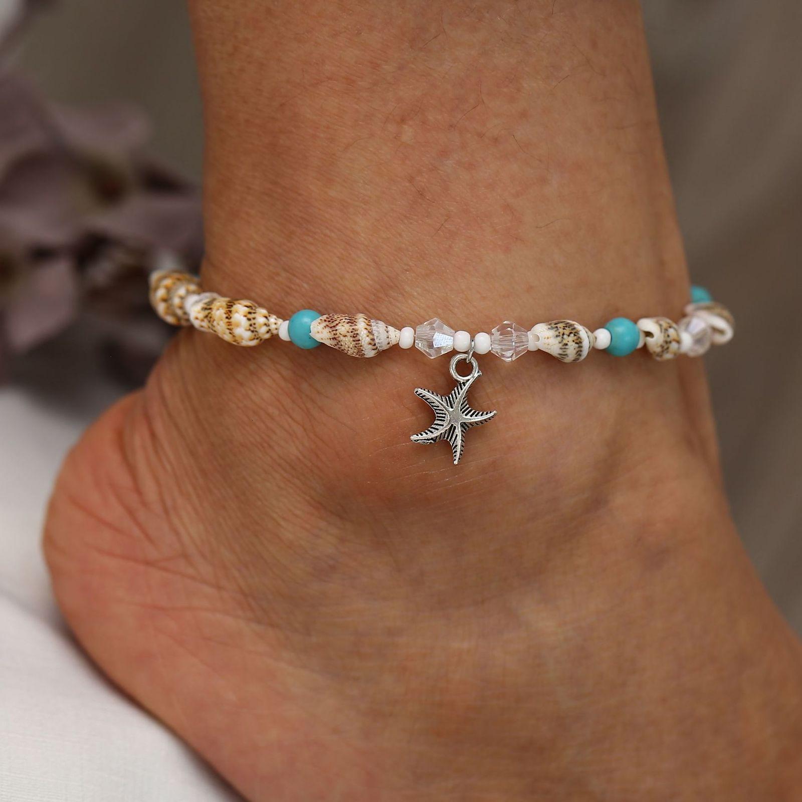 Nuevo estilo Conch Beads Yoga Anklet Pulsera Playa Starfish Colgante Cáscara de cristal Pies
