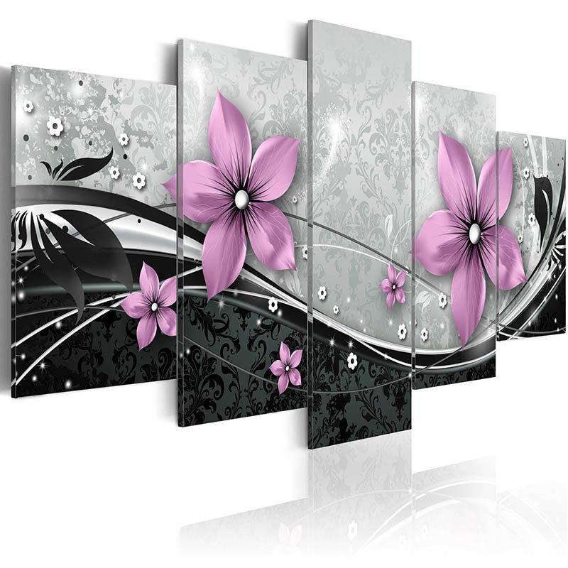 5 PC / 세트 현대 지문 캔버스 벽에 꽃 유화 홈 거실 장식 (프레임 없음) 623 S2
