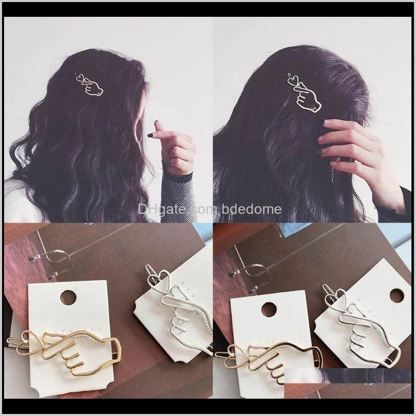 & Jewelry Drop Delivery 2021 Korean Creative Finger Heart Shaped Bobby Pins Women Girls Polished Metallic Gold Sier Hair Clips Hollow Geometr