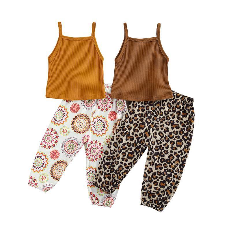 Clothing Sets 2 Pieces Children Summer Sportswear Solid Color Spaghetti Pit Strip Belt Vest + Flower/Leopard Print Slacks For Girls Aged 2-6