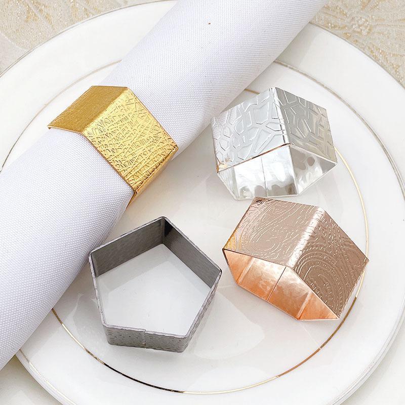 10 stücke Kreative polygonale Serviettenring Metallschnalle Ringe