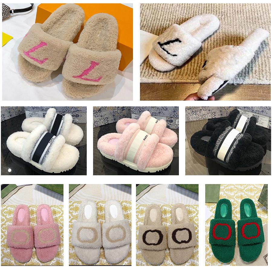 Moda Mujeres Sandalias de lana Venta de zapatillas Mujer zapatillas de zapatillas Otoño Invierno Diapositivas Sandalia Tamaño 35-41 por Home011 01