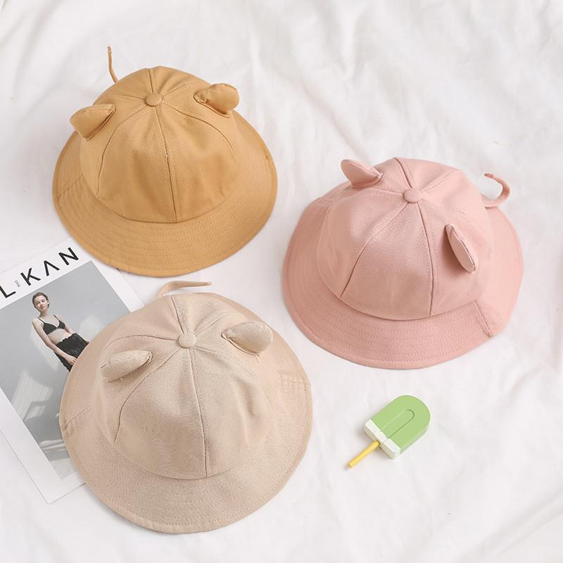 Cartoon cat ear bucket hat girl cotton dome sun cap women korean spring summer panama sunshade solid female outdoor sunhat lady sunshield kids children sun-protect