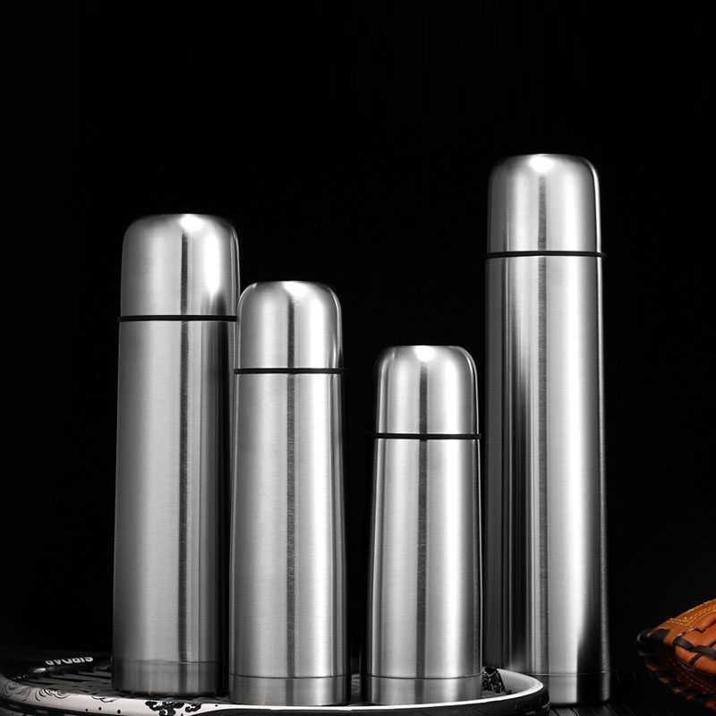 1000 мл Двухслойная пуля форма термос из нержавеющей стали бутылка воды вакуумная колба пить кофе кружка для туристической чашки 210615