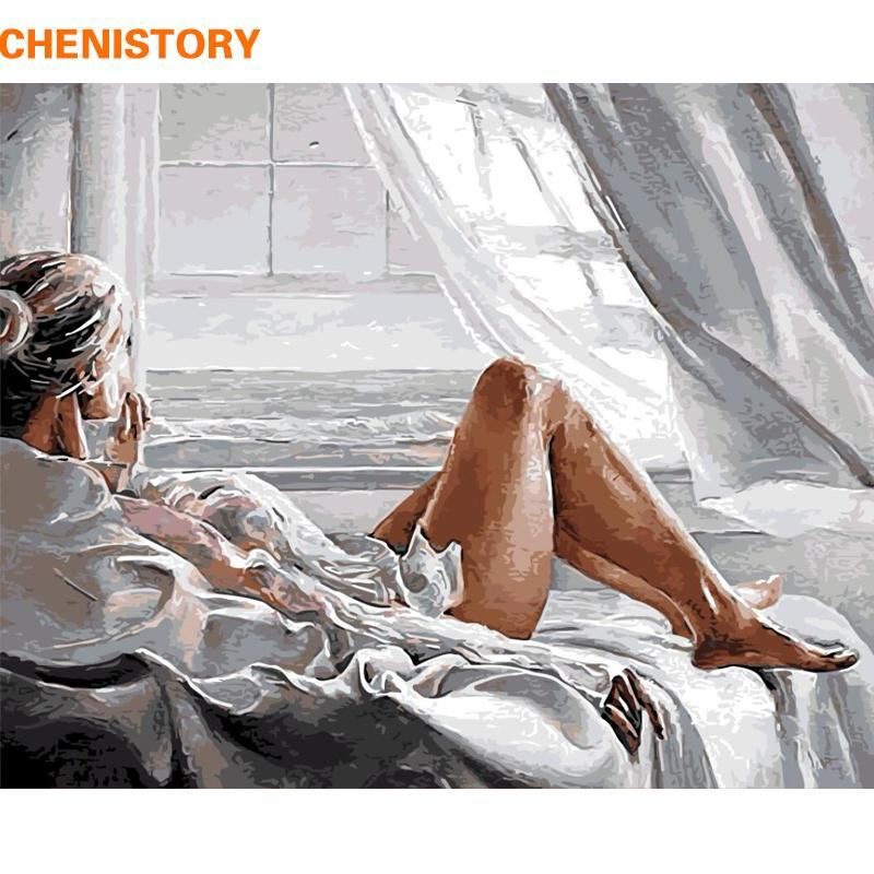 Paintings CHENISTORY Frame Figure Picture DIY Painting By Numbers Women Modern Wall Art Canvas Calligraphy For Home Decor 60x75cm