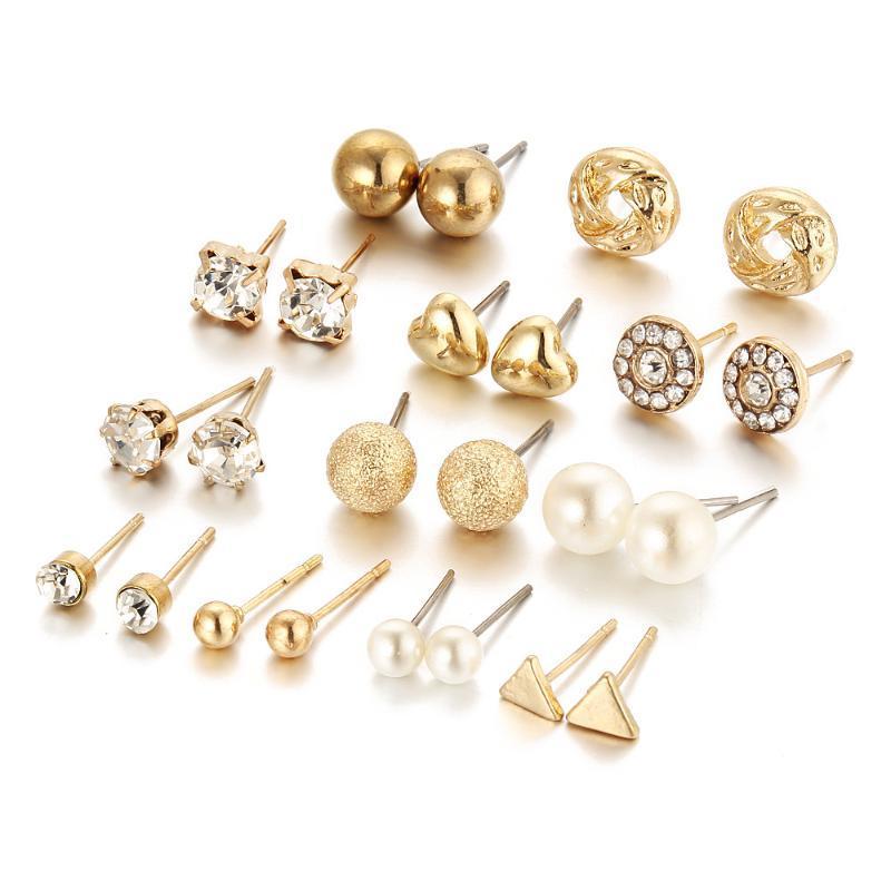 Minimalist 12paare / set gemischte kleine ohrringe set mode strass perle geometrische herz stern stempel für frauen schmuck