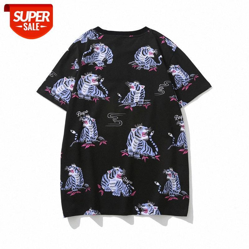 Japanische Flut Marke Männer und Frauen Paar Sommer Tier Tiger Muster Druck Plus Größe Kurzarm T-Shirt # Oz1l