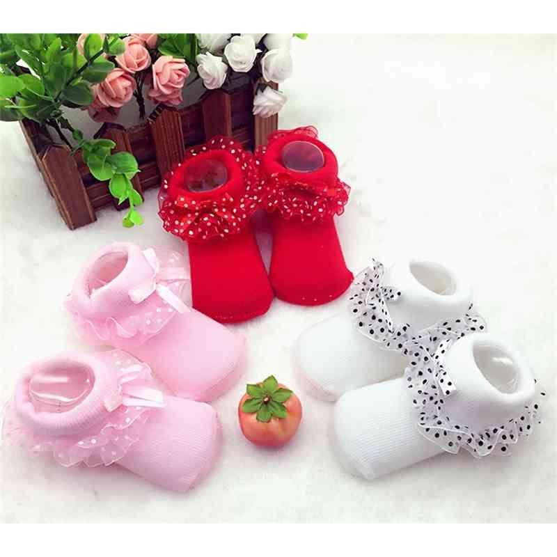 Neonato neonato bambino neonate calzino bambini principessa bowknot pizzo pizzo floreale calzini corti in cotone ruffle frilly trim caviglia calze