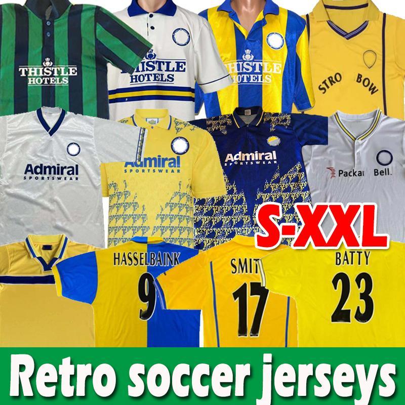 Leeds Retro Futbol Formaları Birleşik 1972 1989 Hasselbaink Smith Kewell Hopkin 1990 91 92 93 94 95 96 96 1998 99 2000 01 Vintage Klasik Jersey Futbol Gömlek Üniformaları
