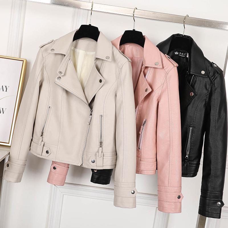 Autumn Punk PU Leather Jacket Women Fashion Streetwear Short Slim Coat Spring Rivet Basic Outerwear LM891 Women's & Faux