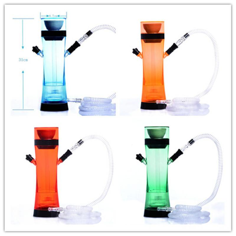 Renkli şişe nargile ile led nargile akrilik bong recycler su shisha set kare su borusu seti tek plastik boru seti
