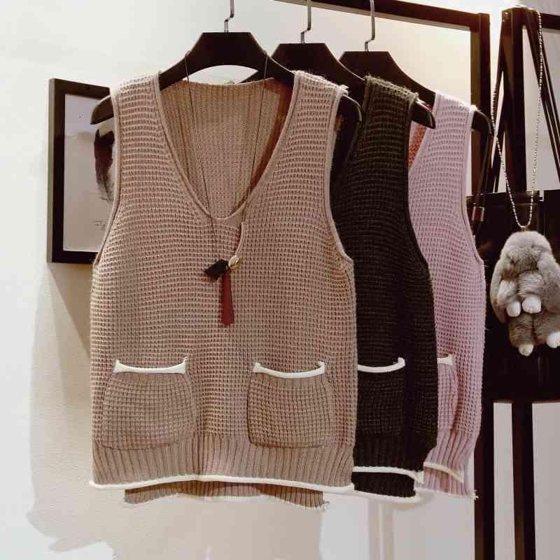 Suéteres Señoras Suéter sin mangas V-cuello coreano primavera nueva versión