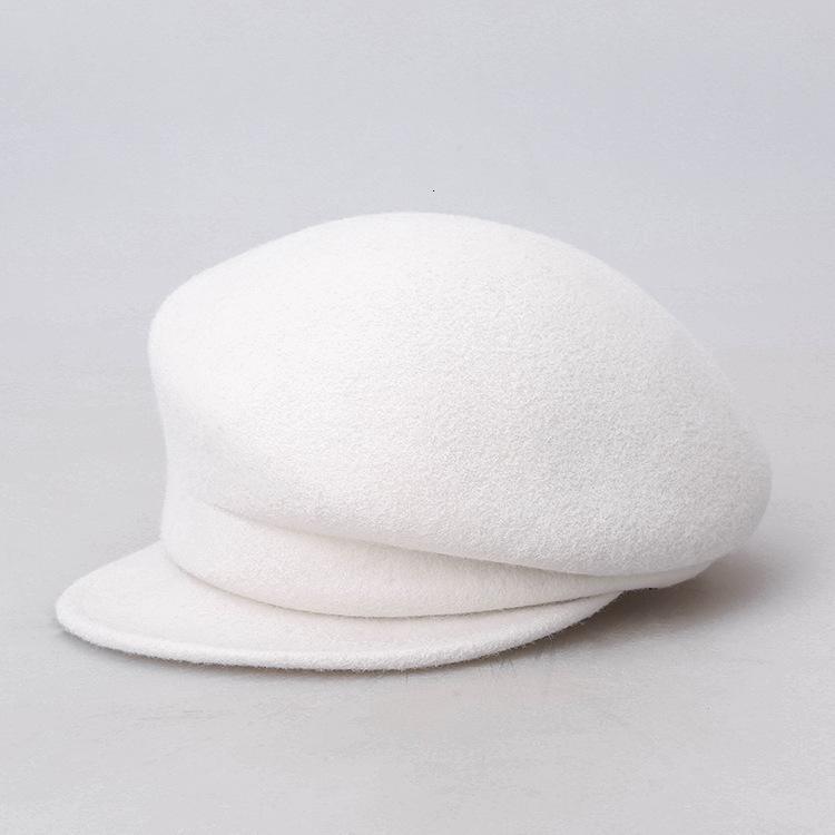 2021 Japon ve Kore 100% Avustralya Yün Beyaz Cloche Şapka Düzensiz Newsboy Kap Lady Chic Bere Kadınlar Fedora Şapkalar Keçe