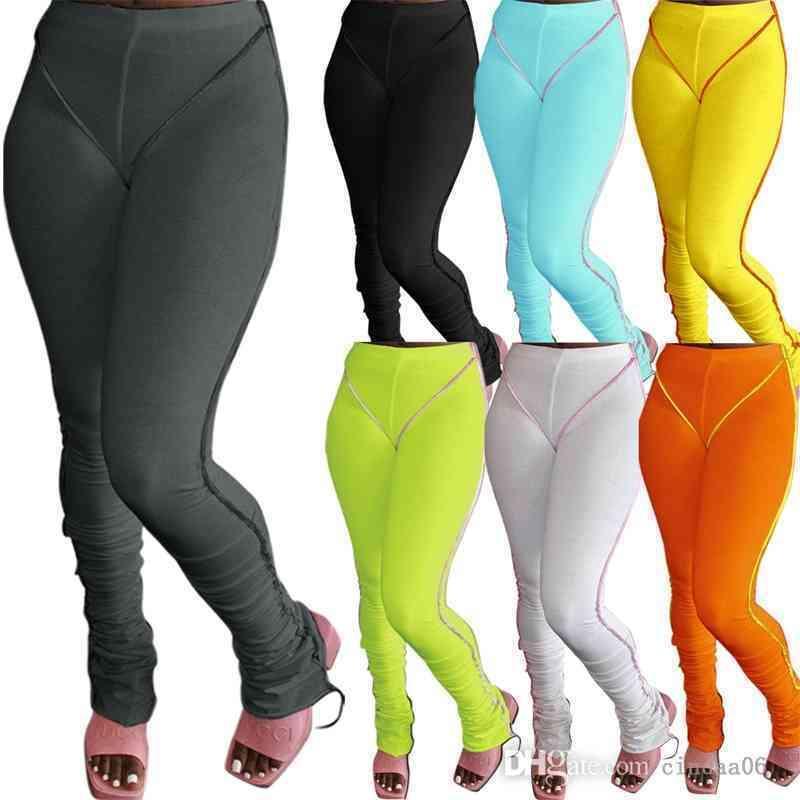 Tasarımcı Kadınlar Pantolon Sonbahar Ve Kış Tayt Yeni Ters Giyim Şeker Renk Kalça Kaldırma Yüksek Bel Slim Fit Mikro Çekme Pantolon