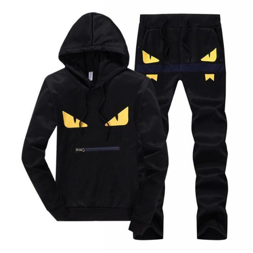 Men Sportswear Hoodie And Sweatshirts Black White Autumn Winter Jogger Sporting Suit Mens Sweat Suits Tracksuits Set Plus Size M-4XL 418-14