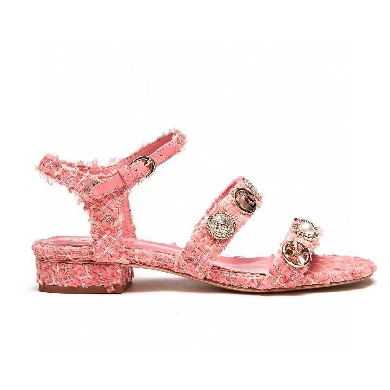 elegant metal flower tweed low heel sandal luxury women fashion shoes boutique size 35 to 41 tradingbear