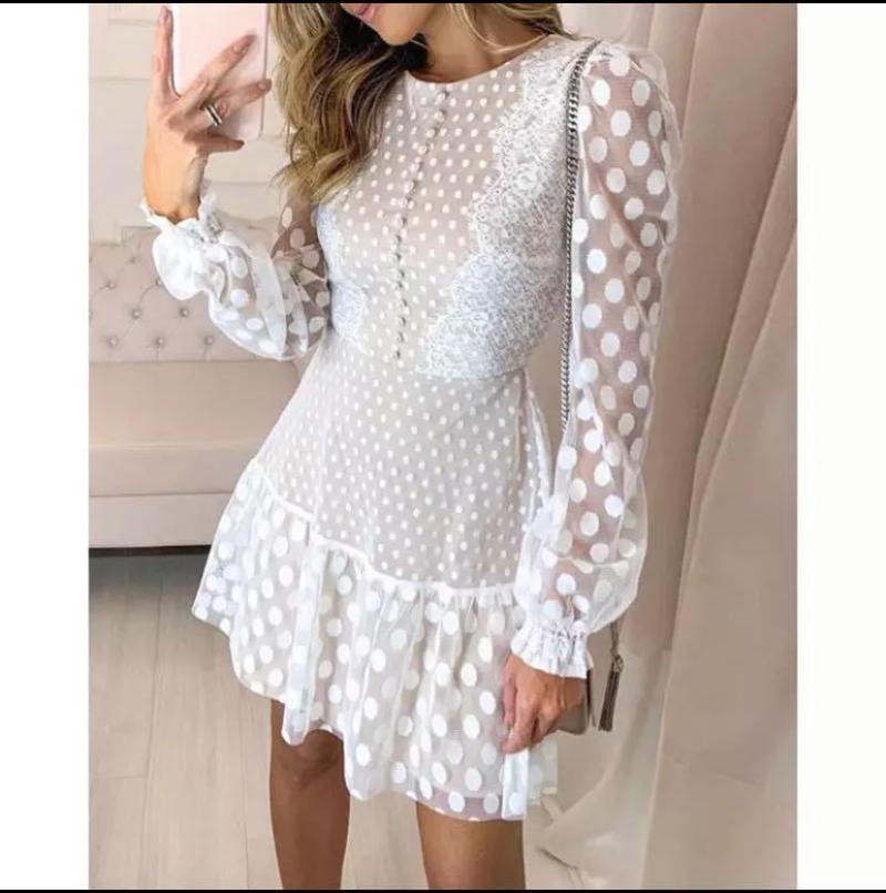 Roupa de banho das mulheres 2021 estilo de verão malha bolinhas costurando o vestido de mangas compridas