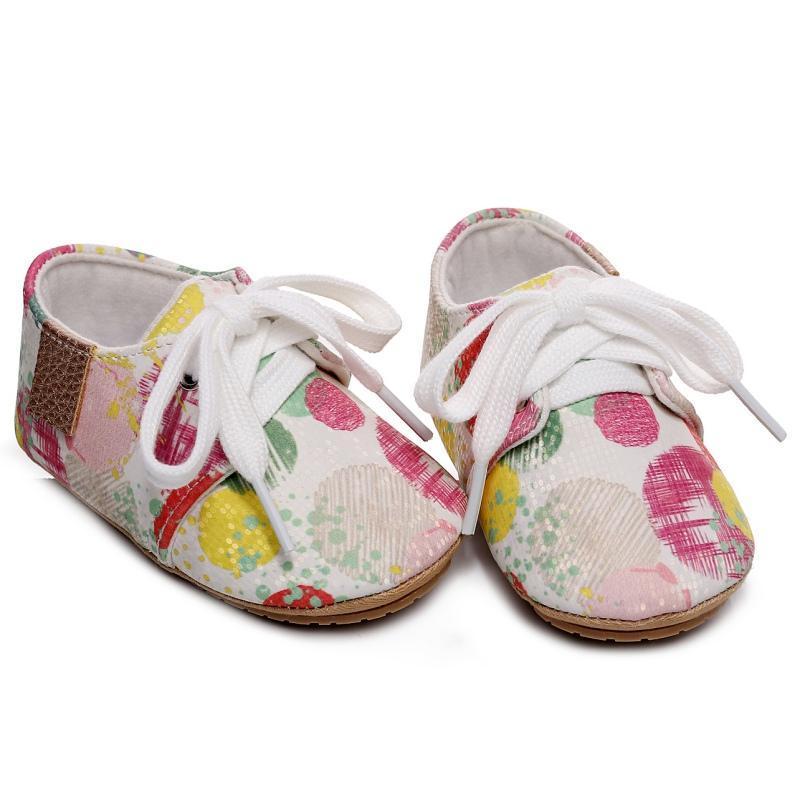 태어난 아기 소녀 소년 프린트 패턴 소프트 솔 안티 스키드 유아 유아 운동화 신발 캐주얼 첫 번째 워커 0-24M 워커