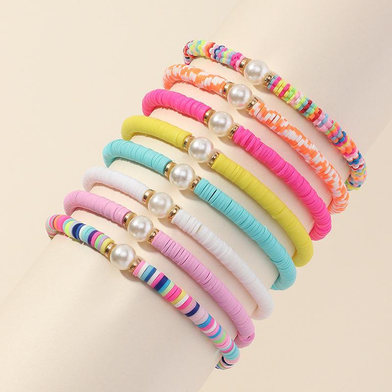 6 pçs / set Novas fitas de cerâmica artesanal frisado pulseiras Todos os acessórios de jogo Multi-color pulseira Europeia e americana