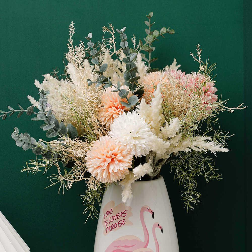 가정용 핑크 꽃 꽃다발 웨딩 거실 테이블 장식 Bulrush 꽃 팜파스 잔디 플라스틱 가짜 식물