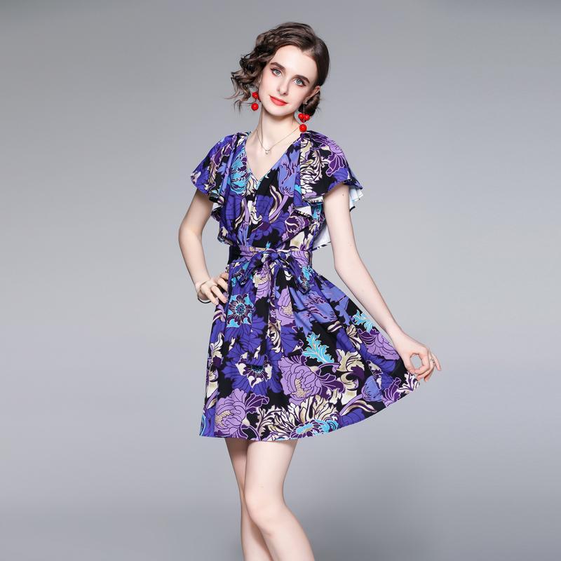 Vestidos de Verão Ruffle Manga Impresso Womens Dress High End Trendy Vestido Floral Moda Casual Menina Vestidos Quentes Novos Vestidos