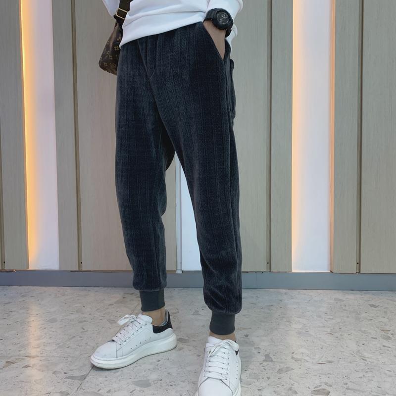 겨울 패션 느슨한 니트 하렘 바지 남성복 2021 간단한 모든 일치 거리웨어 캐주얼 조깅 바지 블랙 / 그레이 36 남자