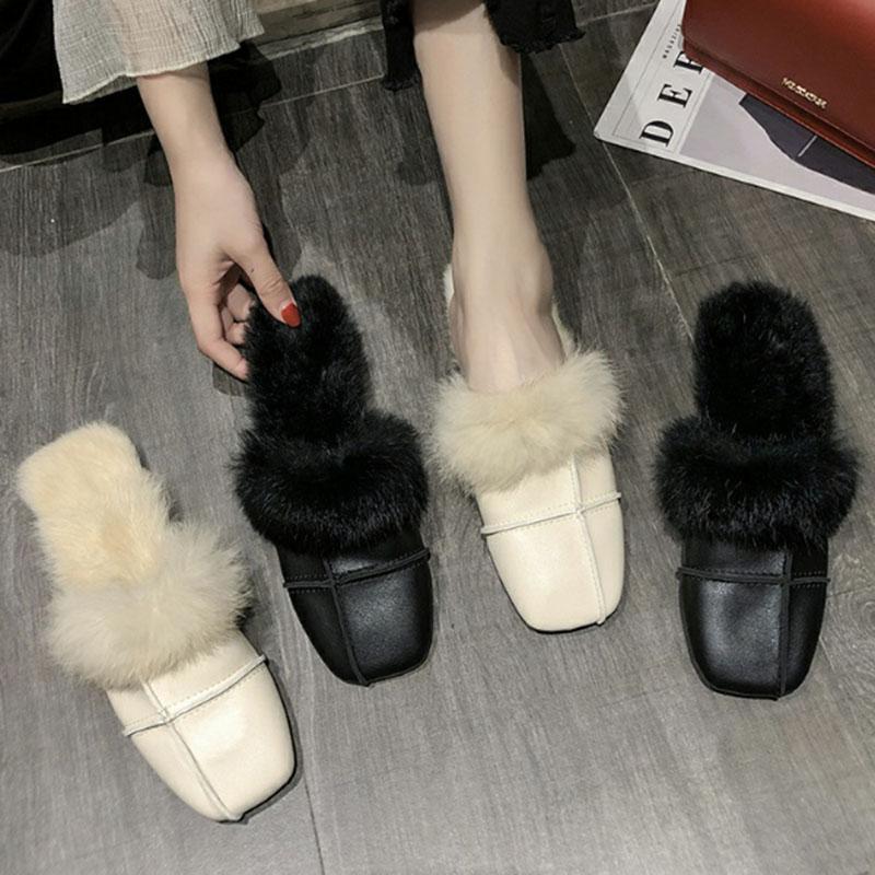 Chic Patchwork Square Toe Peles Chinelos Mulheres Pantuflas Pelúcia Senhoras Sapatos Sandálias Acolhedor Cobertura Sólida Slides Furry Mules 2021