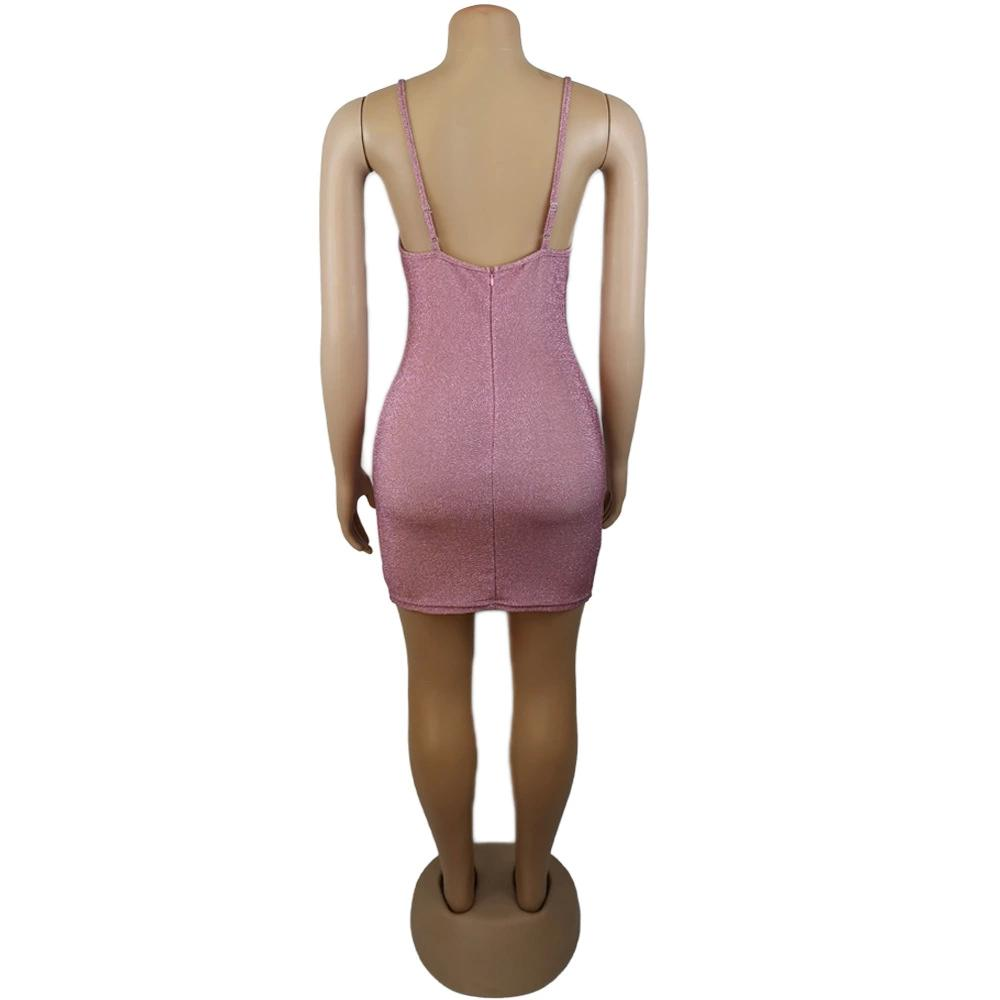 Party Dresses 2021 cross-border style European and American women's nightclubs sexy halter hollow-out dress with hip wrap