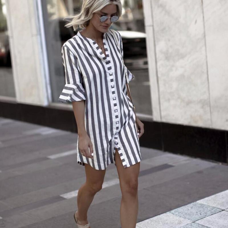 플러스 사이즈 Vestidos11 2019 가을 긴 소매 단추 스플릿 긴 맥시 드레스 여성 캐주얼 여성 스트라이프 드레스