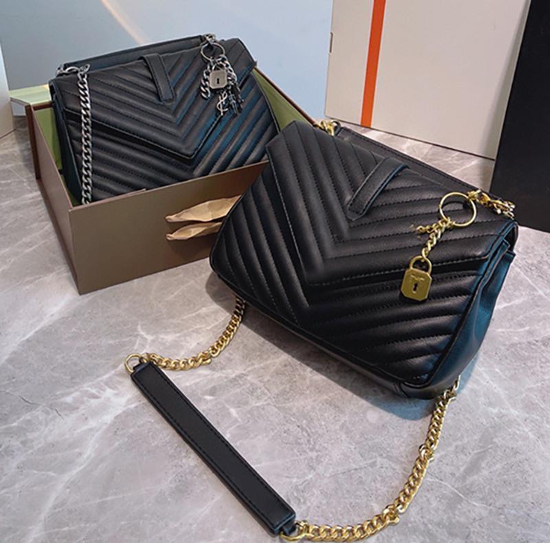 2021 Damen Umhängetasche Designer Marke Envelopeather Crossbody Classic Kette Qualität Brieftasche Zweifarbige Geschenkbox