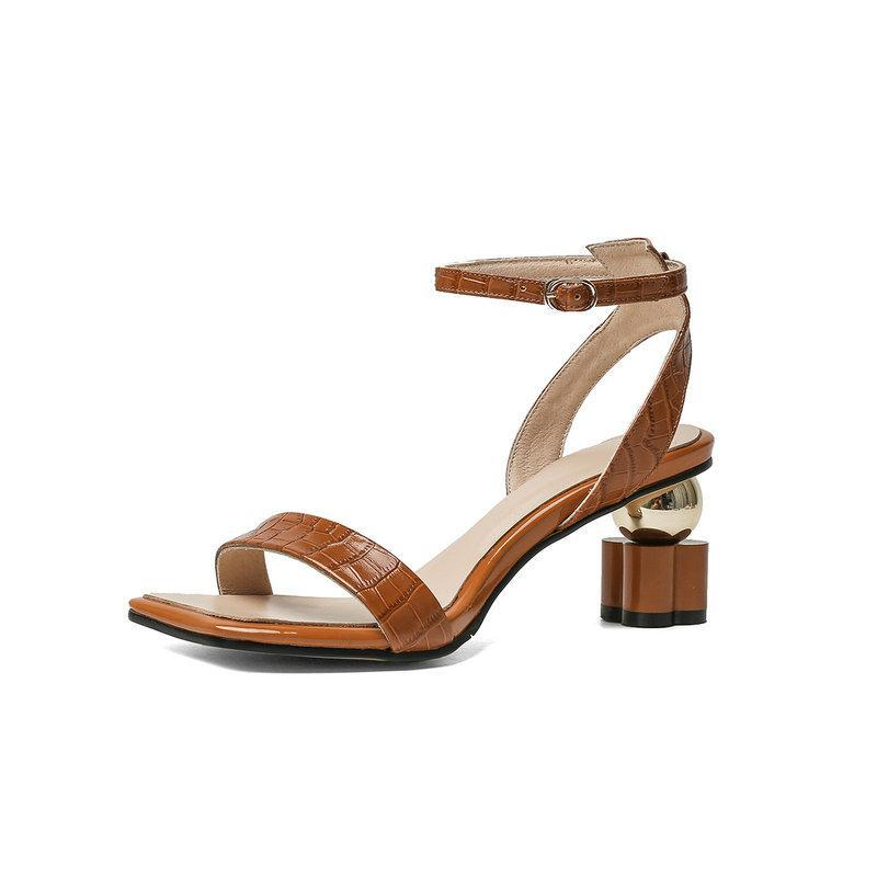 Metal Buckle Genuine Eather Women Sandals Lace Up Cool High Heels Pumps 2021 Summer Party Casual Shoes Woman