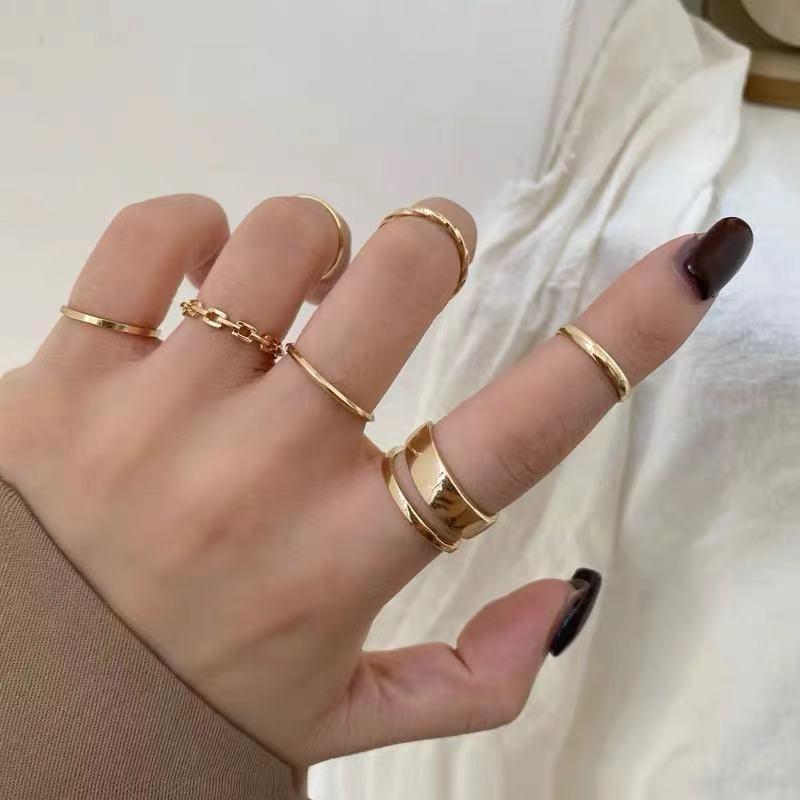 2021 Retro Punk Hip Hop Cross Rings Finger Chain Adjustable Two Link Ring Jewelry Gift Men's Women's Gothic Jewelry