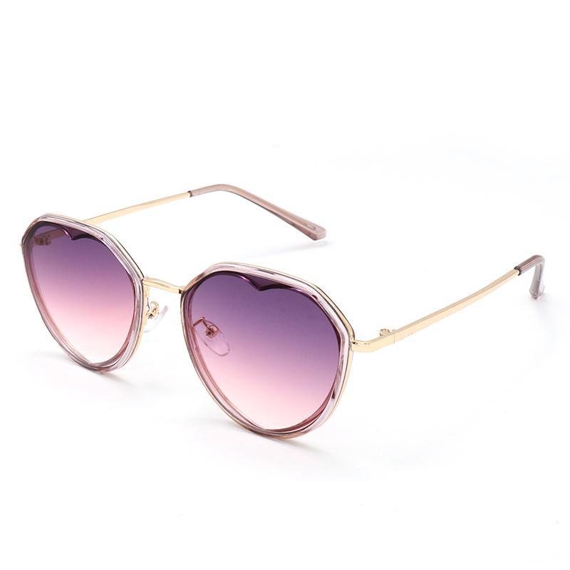 고품질 안경 20226 태양 안경 브랜드 선글라스 패션 남성 여성 디자이너 선글라스 라운드 안경 심장 모양의 안경 금속 Occhiali Da Sole