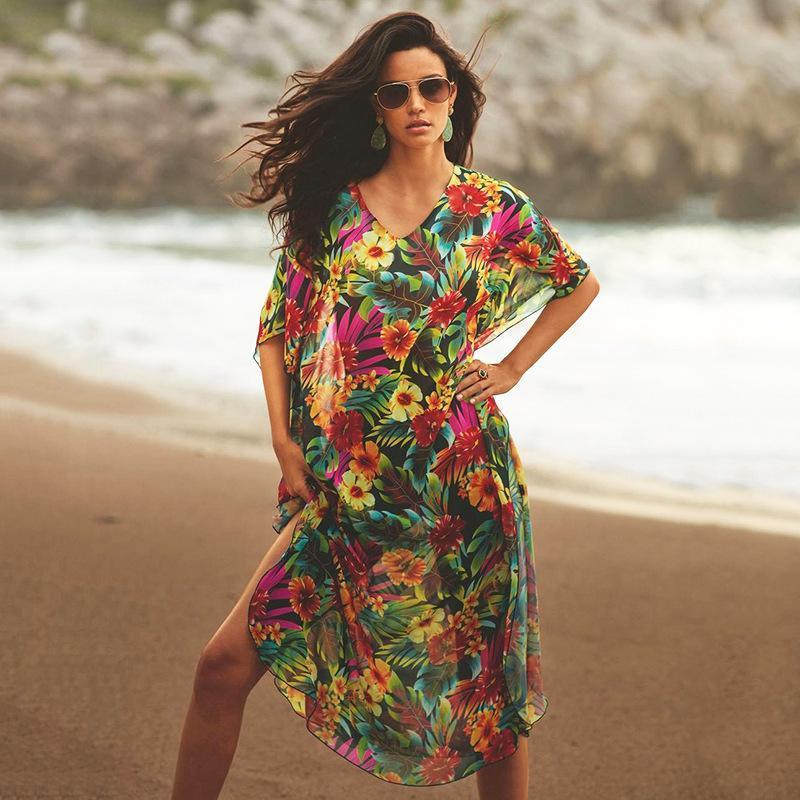 Swimwear Mulheres Negro Botto Big Flower Robe Solto Tamanho Grande Saia Longo Biquini Blusa Sunscreen Camisa Praia Férias Mulheres para