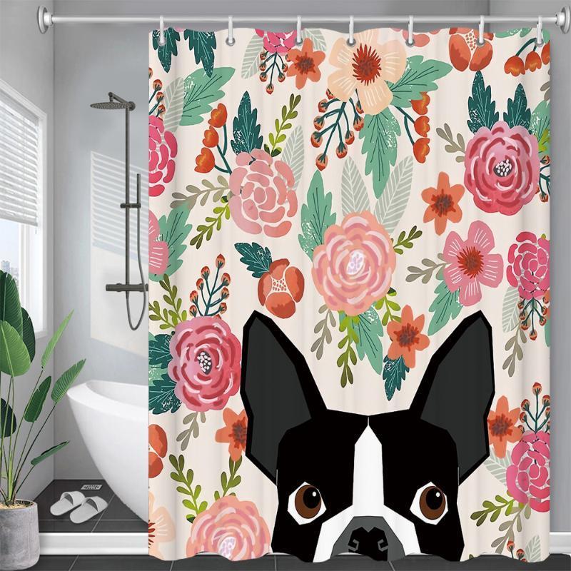 Duş Perdeleri Komik Köpek Çiçekler Bırakır Banyo Perdesi Frabic Su Geçirmez Polyester Çoklu Boyutları Banyo