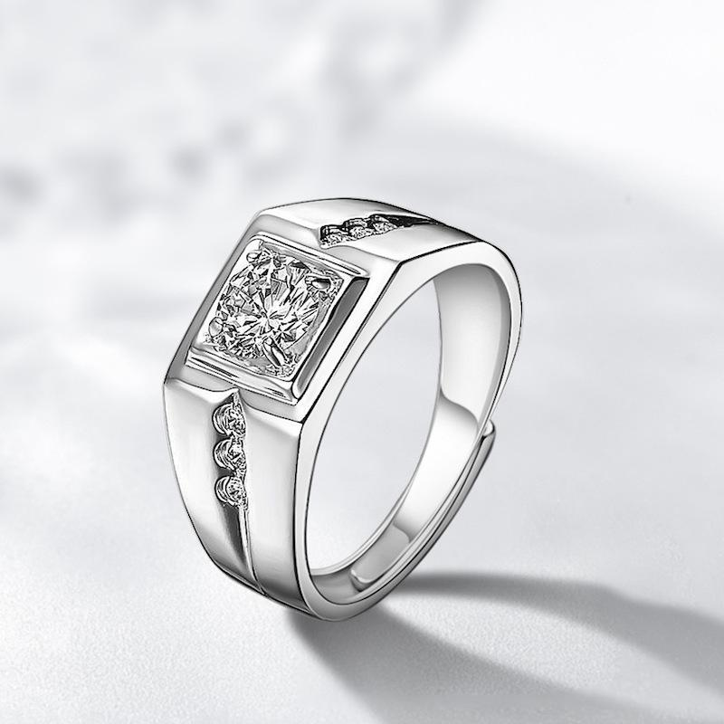 2021 Luxury Halo 925 Sterling Silver For Men Ring 1.5ct Diamond Anniversary Gift Jewelry Wholesale Moonso MR999