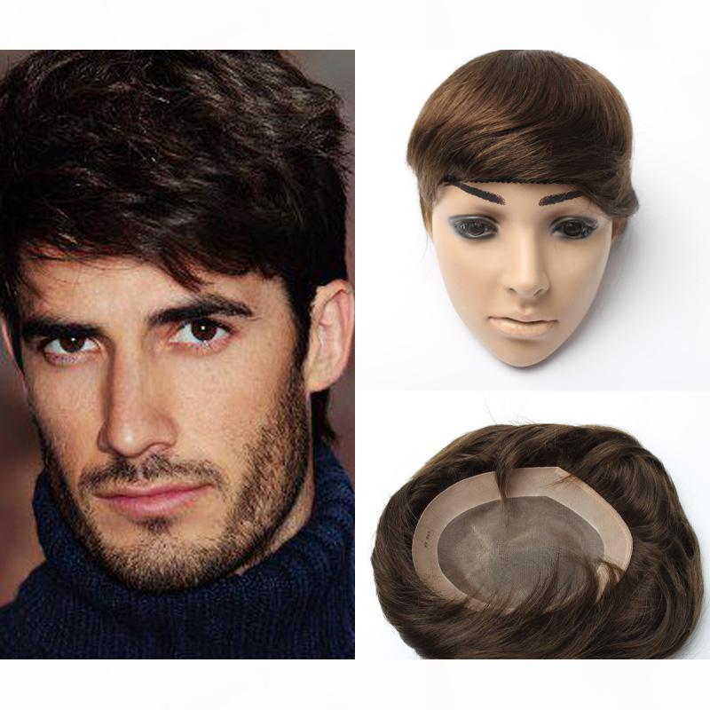6x8inch 7x9 بوصة 8x10inch سوبر دائم رقيقة الجلد الشعر المستعار، أحادية قاعدة الرجال شعر مستعار، بدلة الشعر مع الهندي ريمي الشعر الباروكات للرجال