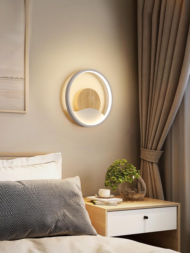 Morden Metal LED 벽 라이트 유럽 화이트 라운드 침대 옆 램프 장식 미니멀리스트 Lampe 드 Chevet 장식 BK50BD