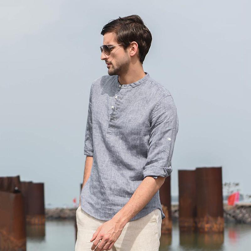 스탠드 칼라 코튼과 린넨 3 쿼터 슬리브 캐주얼 셔츠 중국어 스타일 통기성 단단한 여름 탑스 남성용 셔츠