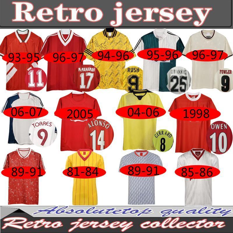 04 05 Ретро Футбол Джерси Джеррард 1982 Fowler Dalglish 10 11 Футбольные рубашки Torres 1989 Maillot 85 86 Kuyt 08 09 Suarez 1995 93 McManaman