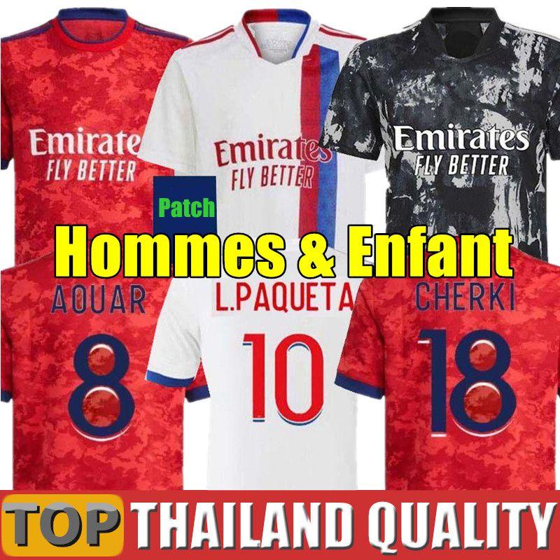 20 21 Lyon Futbol formaları OL 2020 2021 DEMBELE TRAORE MEMPHIS Olimpik Lyonnais Futbol forması T. MENDES Aouar TRAORE Erkekler Çocuk Kiti üniforma