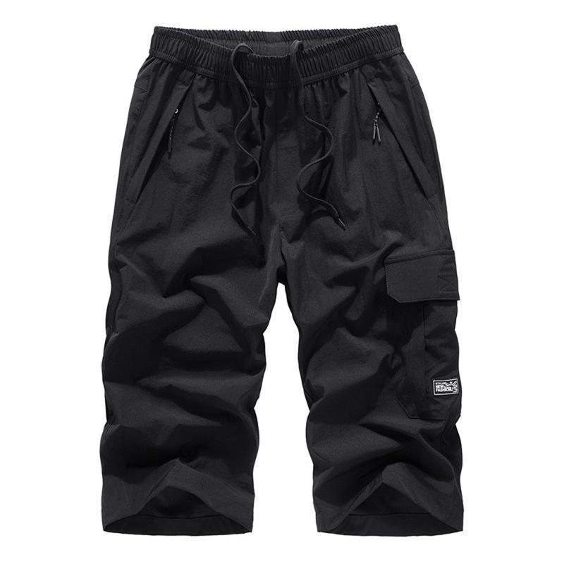 Calções dos homens verão plus tamanho calças fina de secagem rápida praia casual tendência cordão esportes curto-comprimento solto mens macacão
