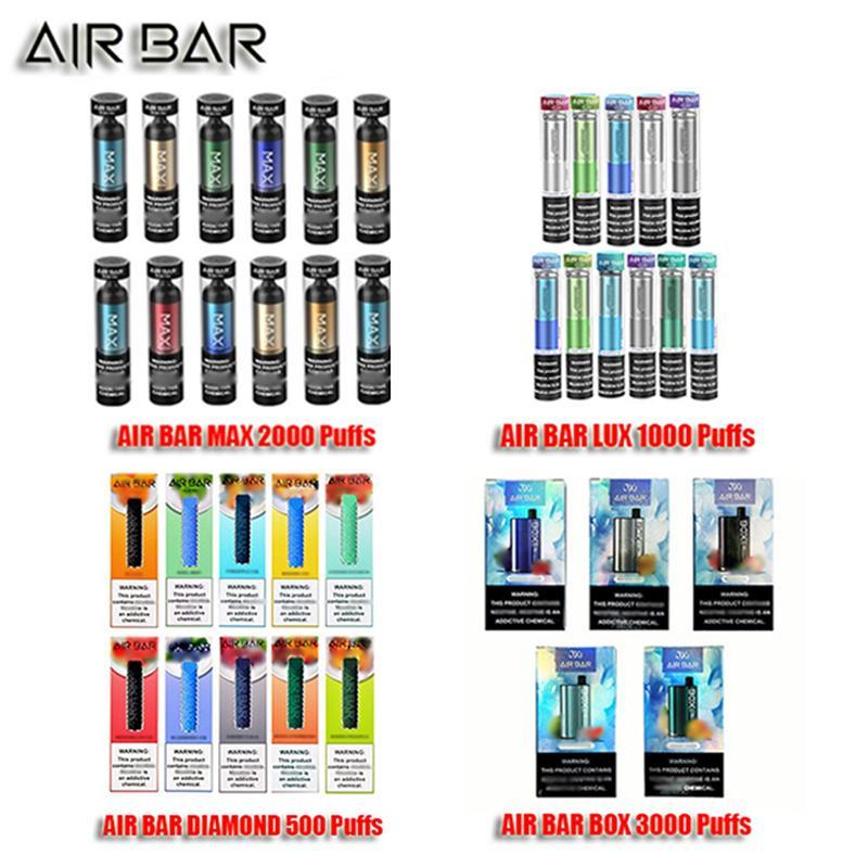 Barre d'air MAX LUX DIAMOND BOX E cigarette jetable pré-rempli de stylo de vapon POD POD Batterie Rechargeable Réglage du kit Strart Vaporisateur Cartouche de cartouche