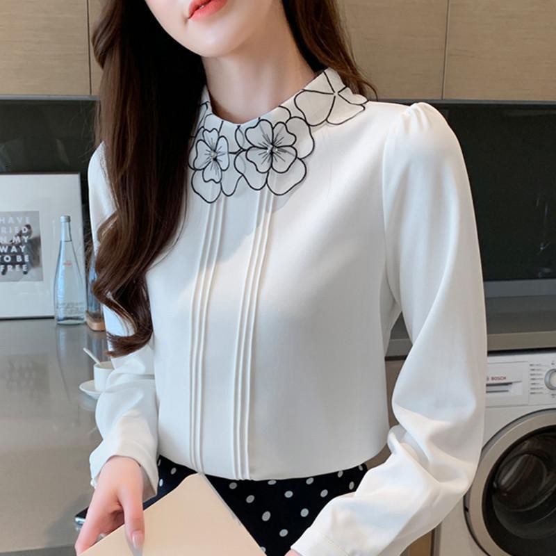 여성을위한 한국 패션 시폰 블라우스 우아한 여자 수 놓은 블라우스 OL 꽃 셔츠 플러스 크기 Blusas Mujer de Moda Blouse 201202