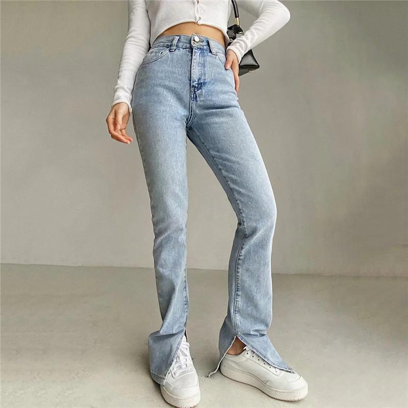 Прямые джинсы для женщин Высокая талия Классический ретро Сексуальные промытые брюки синие расщепления на лодыжки тонкие джинсовые длинные кабенки 2021 женские