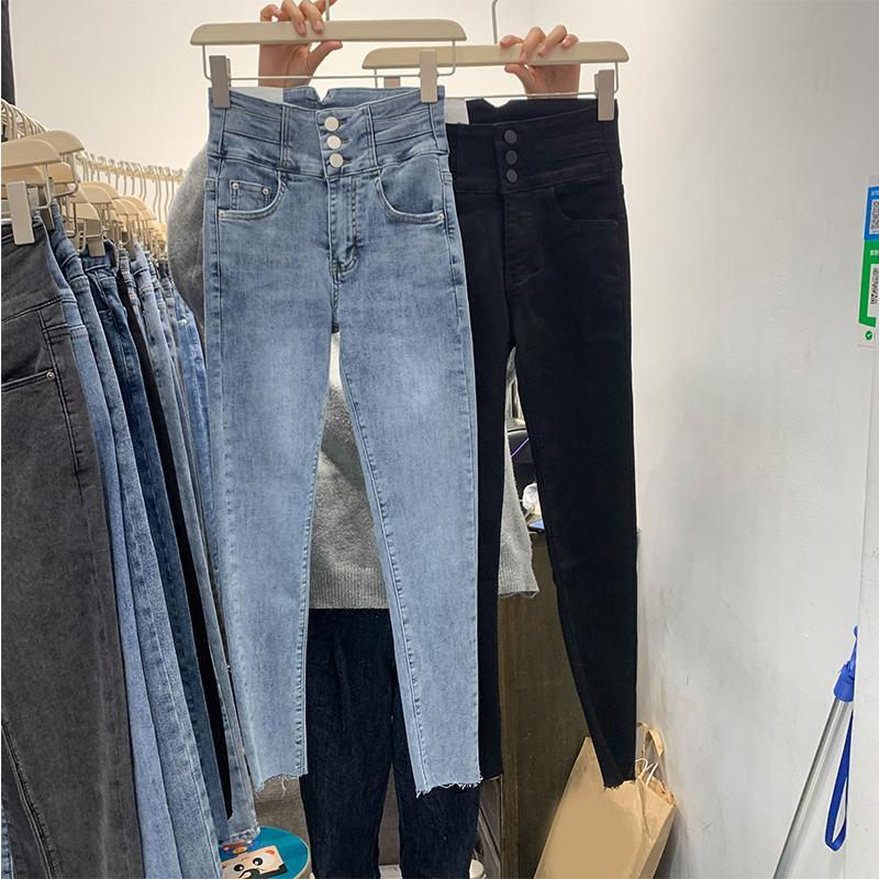 تصميم الربيع برستد نحيل جينز المرأة كل مباراة عالية الخصر الكاحل طول الأزرق الدينيم السراويل المؤنث قلم جين الأسود المرأة