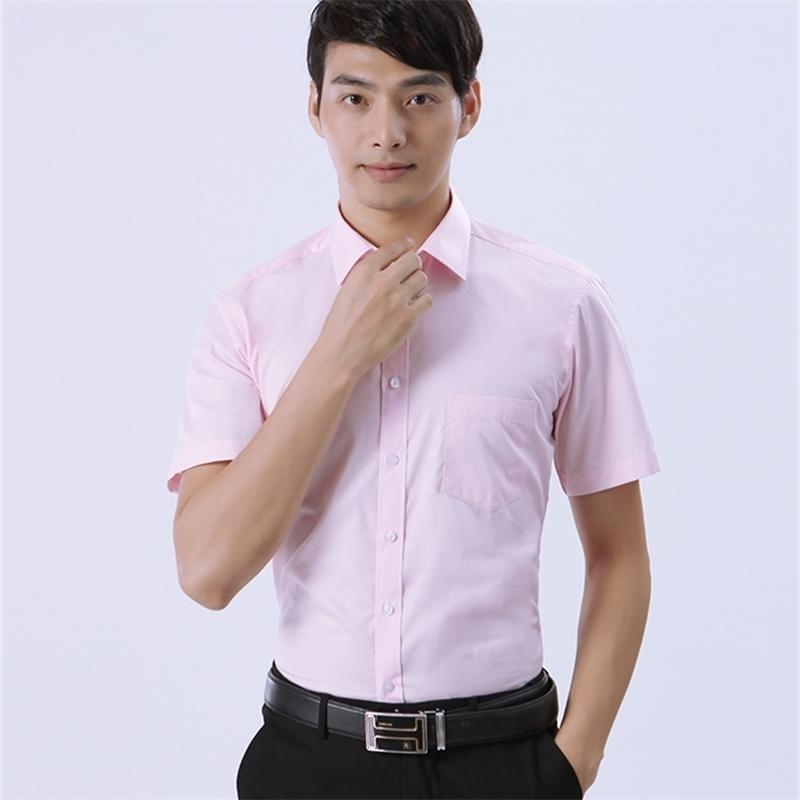 Customize men shirt short sleeve personalize solid color short sleeve male shirt A588 pink yellow 210414