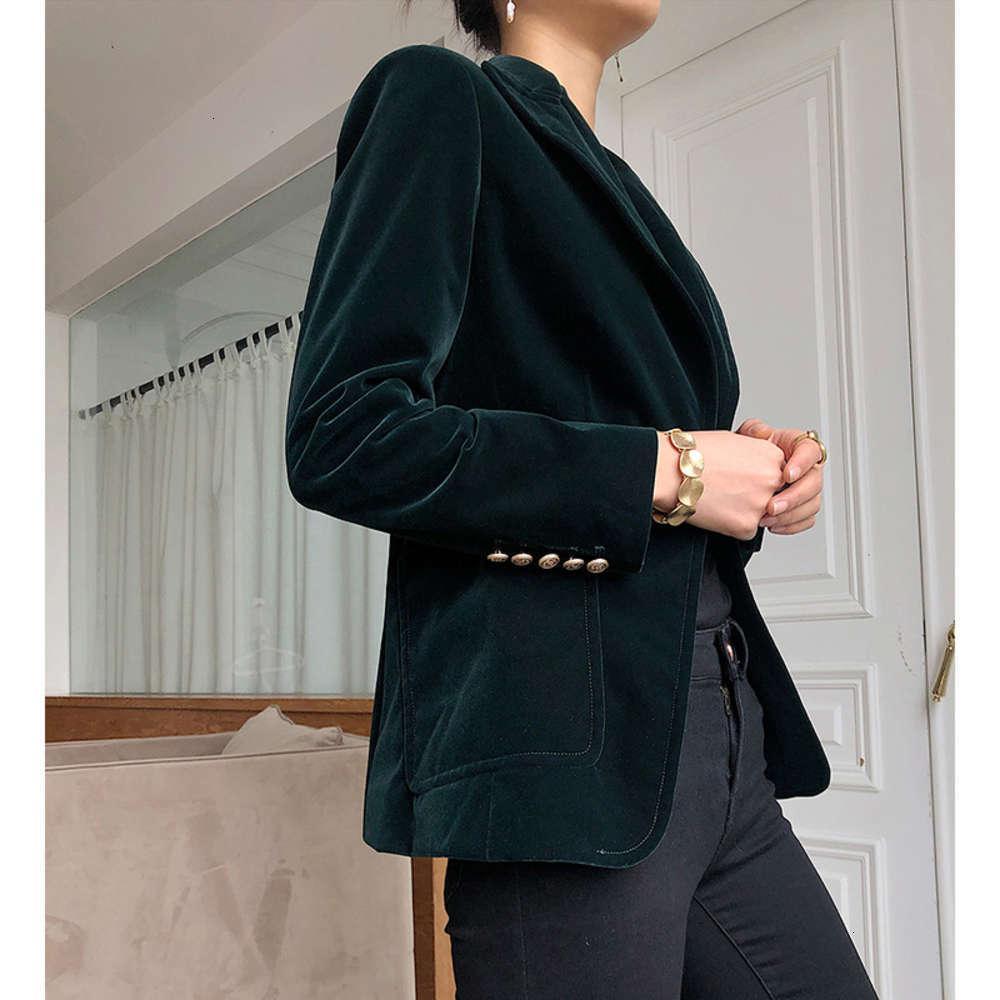 높은 수준의 질감 블레이저 슈트 블랙 벨벳 코트 여성 패션