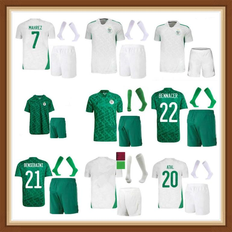 Cezayir Futbol Forması Hayranları Oyuncu Sürümü 2021 Eve Dight Mahrez Bounedjah Feghouli Bennacer Atal 21 22 Cezayir Maillot de Foot